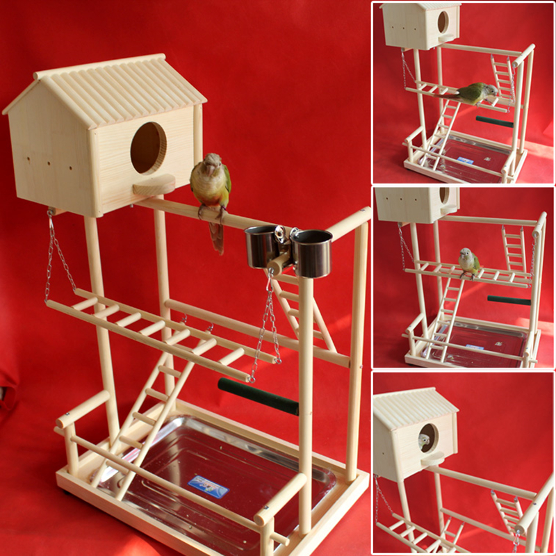 40*26*38cm DIY Wooden Parrot Playground Bird Perch With Swing Ladders Feeder Tray Bird Play Game Stand Bird Breeding Nest F5047