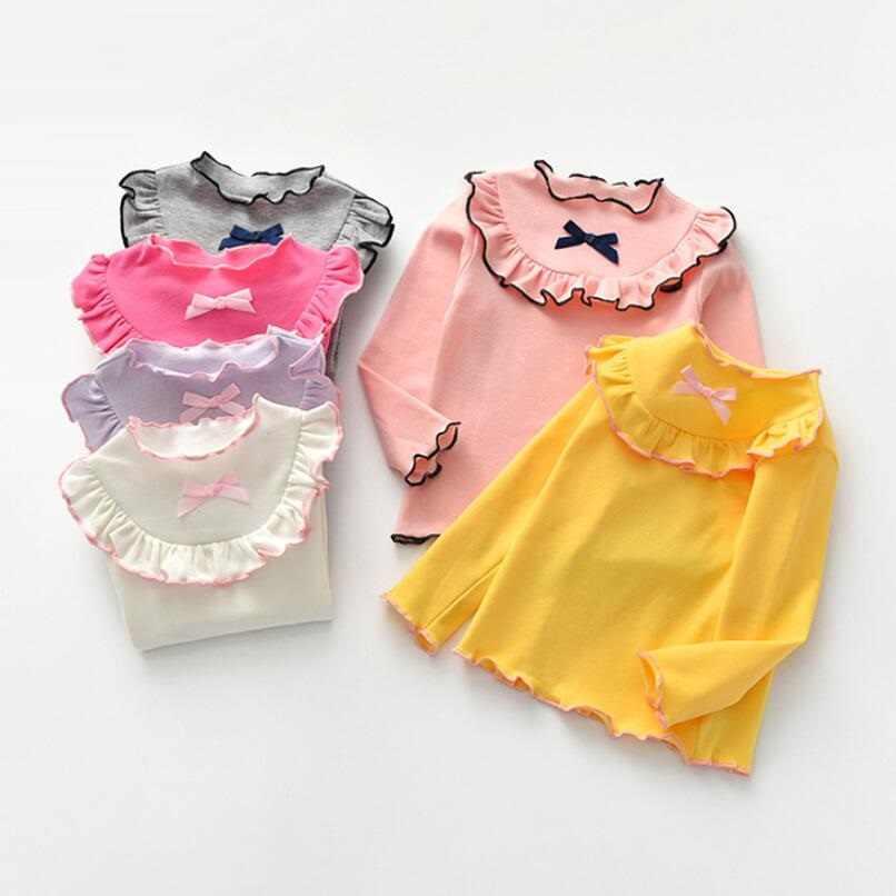 2020 ガールコットン tシャツ子供シャツベビー幼児無地フリル長袖シャツ女の子 tシャツトップス tシャツ子供服