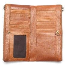 New Fashion Trend Top Layer Phone Wallet Cowhide Multi-Card Wallet Long Men & Women Card Holder For Women Clutch  Lady Wallet