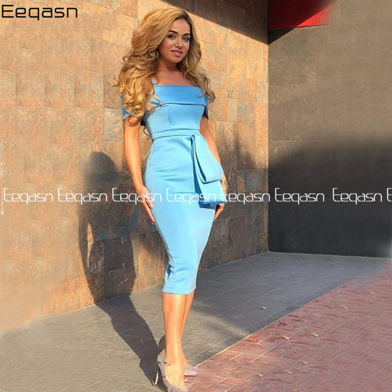Tea Length Sky Blue Cocktail Dresses Off The Shoulder 2020 Custom Women Semi Formal Occasion Evening Gowns With Slit