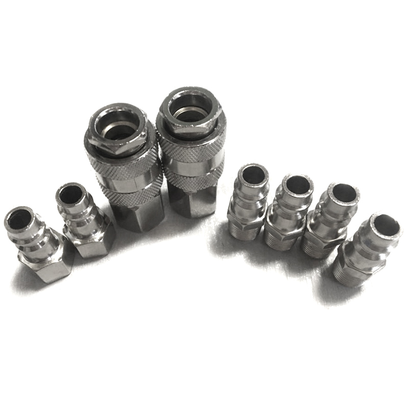 8Pcs European Style 1/4inch NPT Quick Coupling Male and Female Set Quick <font><b>Connector</b></font> Kit Quick Coupler <font><b>Air</b></font> Hose Pneumatic <font><b>Fitting</b></font> image