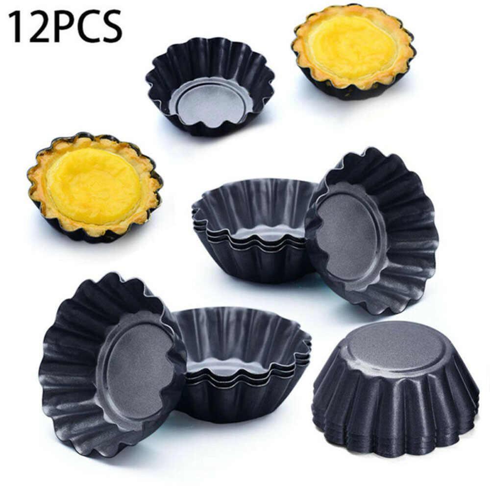 12 шт., маленькие круглые антипригарные формы для зубного камня, оловянные формы для тортов, для выпечки десертов, таких как фруктовые пироги, мини-как