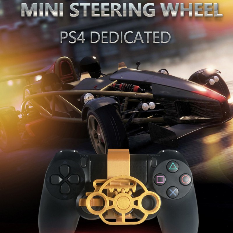 Design For PS4 Racing Game Steering Wheel, 3D Printing Mini Steering Wheel Added For Playstation 4 Controller Handle image
