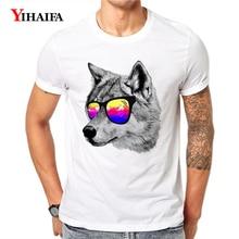 Men Women 3D T-Shirt Glasses Wolf  Print Graphic Tees Casual Summer Hip Hop Animal Pattern Tee Unisex White Tops men wolf 3d print tee