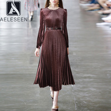 Velvet Dress Long-Lantern-Sleeve Pleated Diamonds Runway Fashion Vintage Autumn Women's