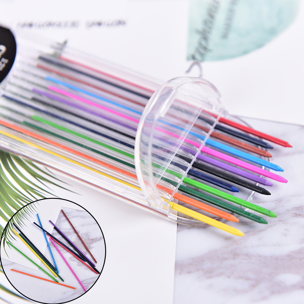 12pcs/pack Mechanical Pencil Color Lead Refill 12mm Red Pink Yellow Bule Orange Green Color Drawing Colored