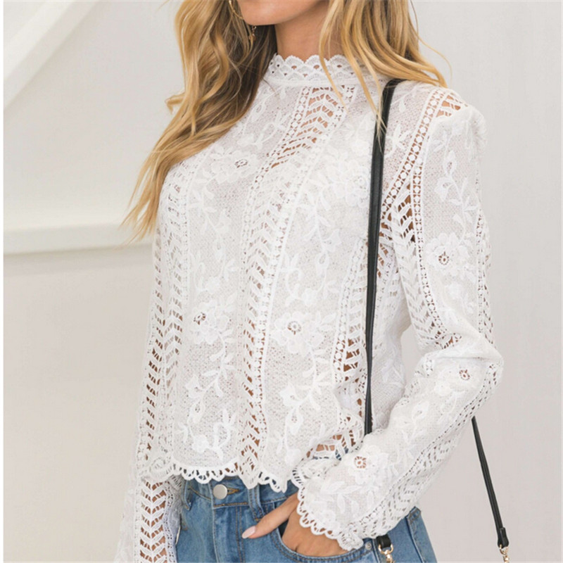 Autumn Fashion Women Ladies Blouse Long Sleeve White Lace Hollow Turtleneck Tops Summer Elegant Blusa For Female