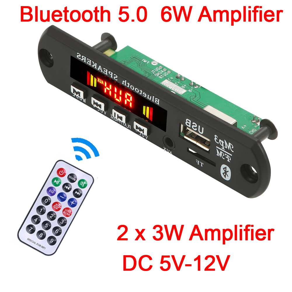 Hands-free MP3 Player Decoder Board 5V 12V Bluetooth 5.0 6W amplifier Car FM Radio Module Support FM TF USB AUX Recorders
