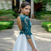 Cheap Tea Length Homecoming Prom Dress Lace Appliques Tiered Skirt Long Sleeves Cocktail Party Dress Open Back коктельное платье