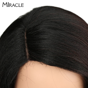 Image 5 - Synthetic Lace Front Wig Long Straight Bob wig 18Inch Right Part Ombre Bob Heat Resistant Synthetic Wigs For Women Miracle wig