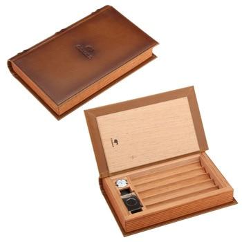 COHIBA Portable Elegant Book Design Cedar Wood Cigar Humidor Leather Cigar Travel Case With Cigars Cutter Humidifier Hygrometer