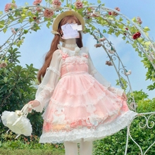 Factory Original Lolita Daily Dress Baby-Doll Light Lolita Girl Cute Lace Halter Dress gothic lolita dress women kawaii clothing зонт складной kawaii factory kawaii factory ka005dwtpv46
