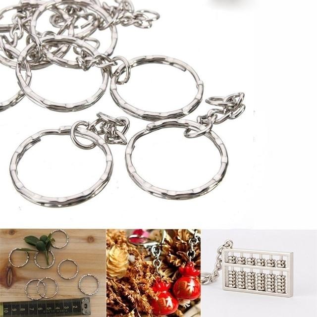 Silver Plated Metal Blank Keyring Keychain Split Ring Keyfob Key Holder Rings Women Men DIY Key Chains Accessories 3