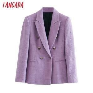 Tangada Women Purple Thick Jacket Coats Double Breasted Long sleeves pocket 2020 Ladies Elegant Autumn Winter coat 3H723