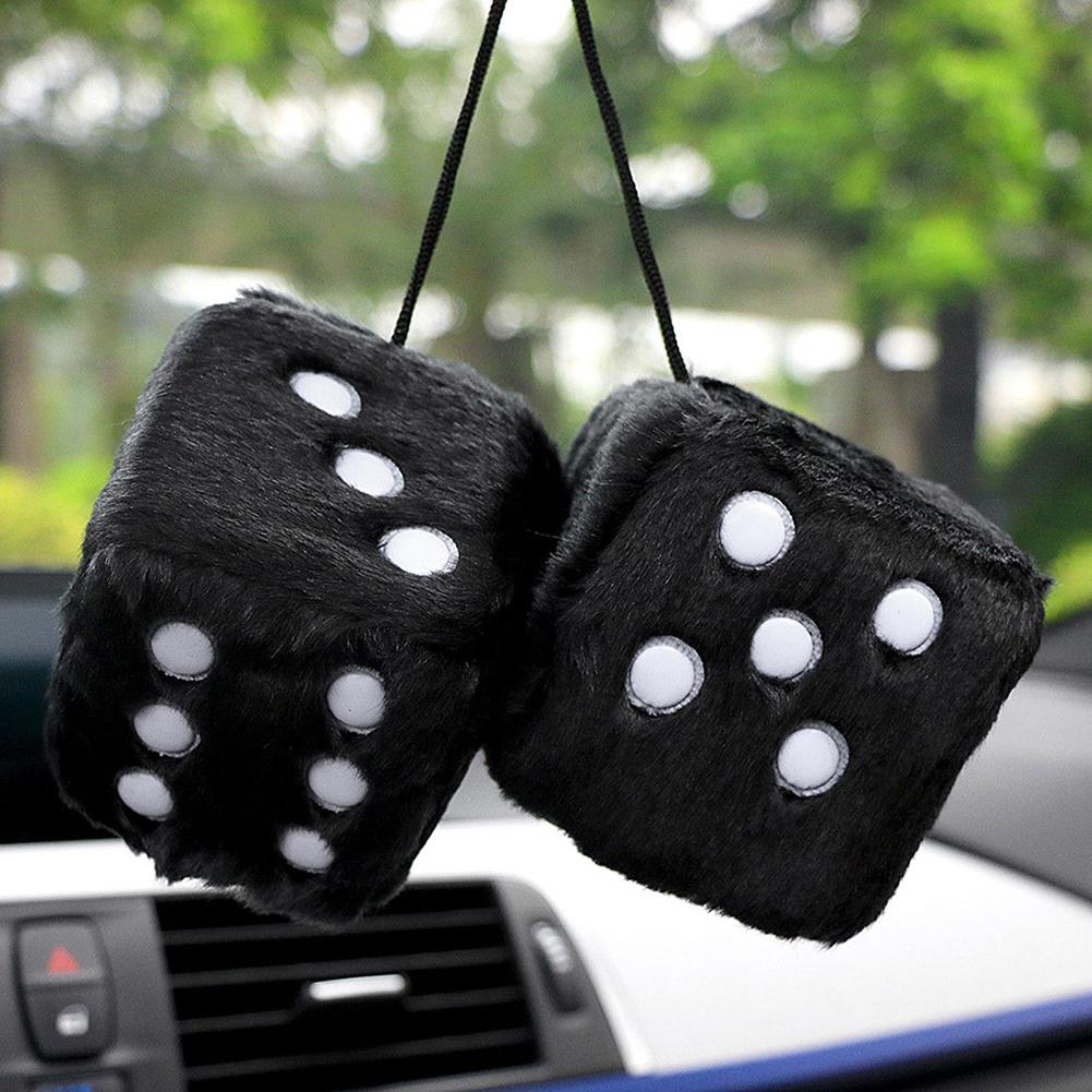2019 New Stylish Soft Plush Fur Cute Dice Car Hanging Ornament Rear Mirror Decorative Pendant  New Hot Sale