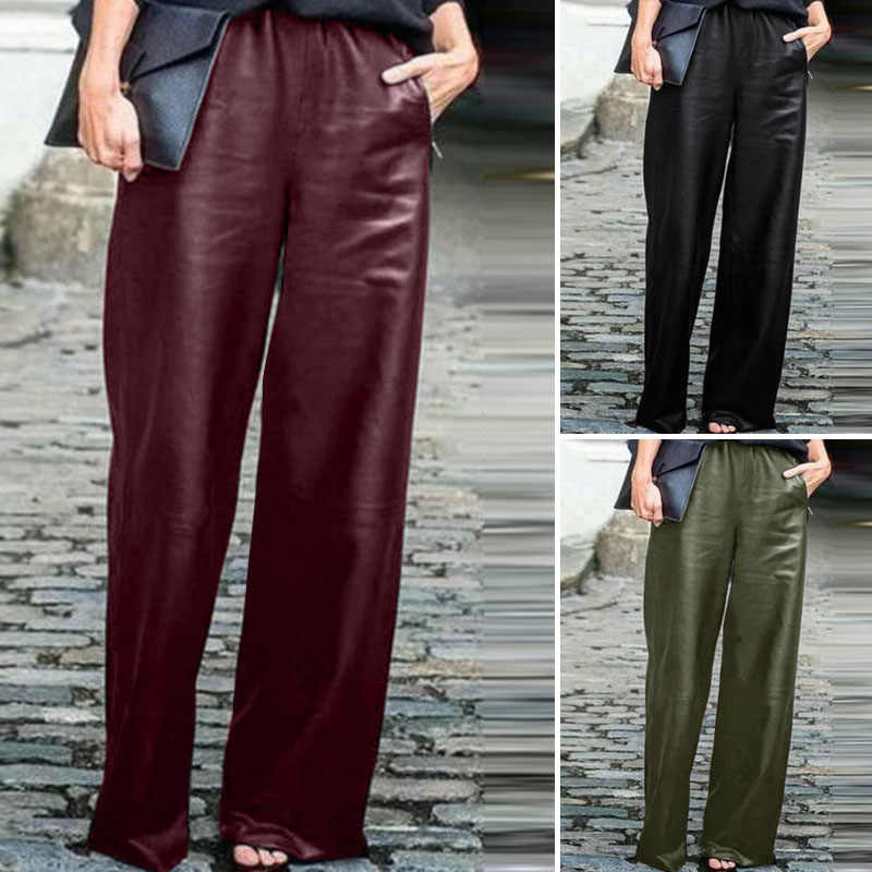 Mode PU cuir Pantalon femmes jambe large Pantalon ZANZEA 2020 décontracté taille élastique Long Pantalon femme noir navet grande taille