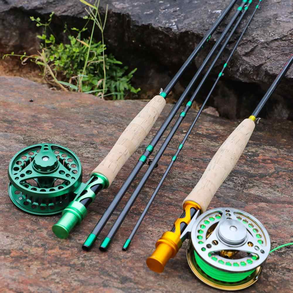 Sougayialng Baru Fly Fishing Rod Set 2.7M #5/6 Carbon Fiber Ultralight Berat Fly Fishing Rod dan Terbang Reel line Combo Pesca