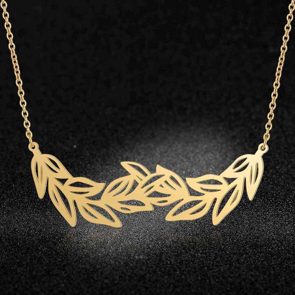 100% Real Stainless Steel 40cm Large Leafs Long Necklace Super Quality Amazing Design Trend Jewelry Necklaces