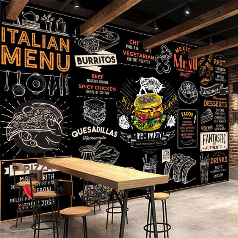 Europea y americana estilo hamburguesa italiana Pizza occidental comida rápida papel tapiz FONDO DE restaurante Mural Snack Bar papel de pared 3D