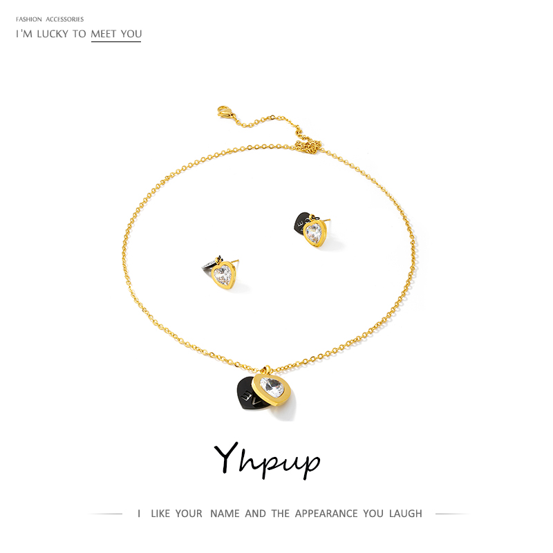 Yhpup Heart Geometric Hollow Love Necklace Earrings <font><b>Jewelry</b></font> <font><b>Sets</b></font> Shining Zirconia Wedding Gift <font><b>for</b></font> Female Sweet Accessories <font><b>2019</b></font> image