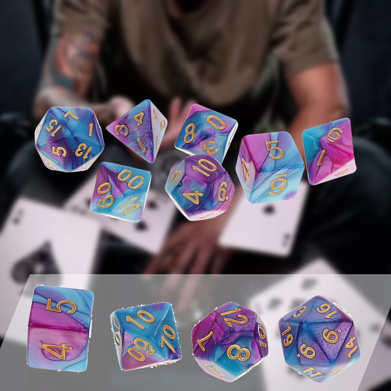 Hot Sales 7Pcs/Set Pack Polyhedral Dice Purple Blue Drinking Dice For DND TRPG MTG Party Game Toy Set