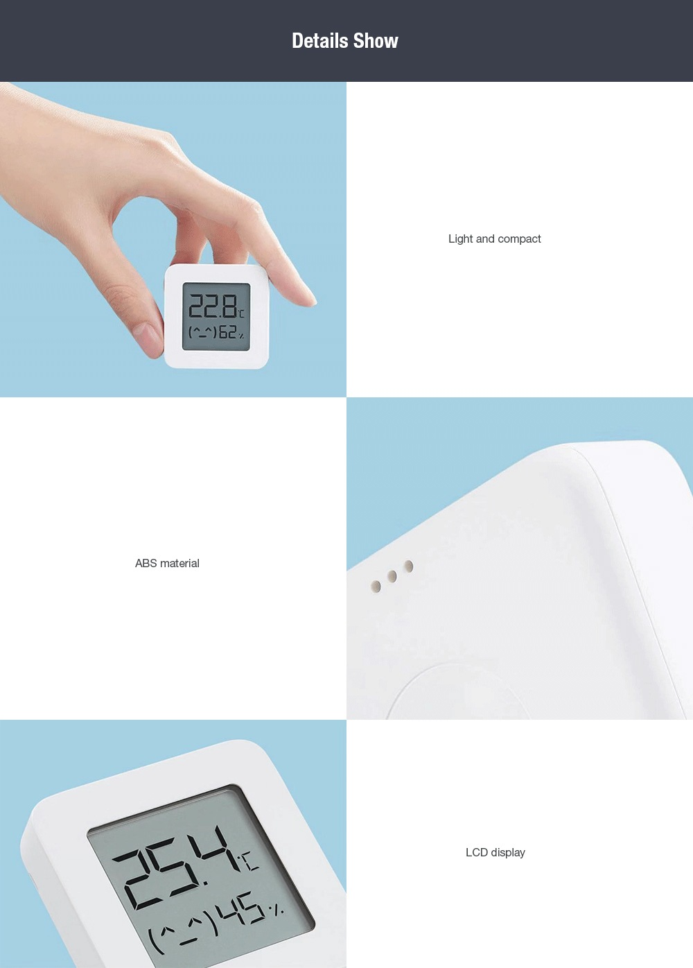 [Newest Version] XIAOMI Mijia Bluetooth Thermometer 2 Wireless Smart Electric Digital Hygrometer Thermometer Work with Mijia APP (7)