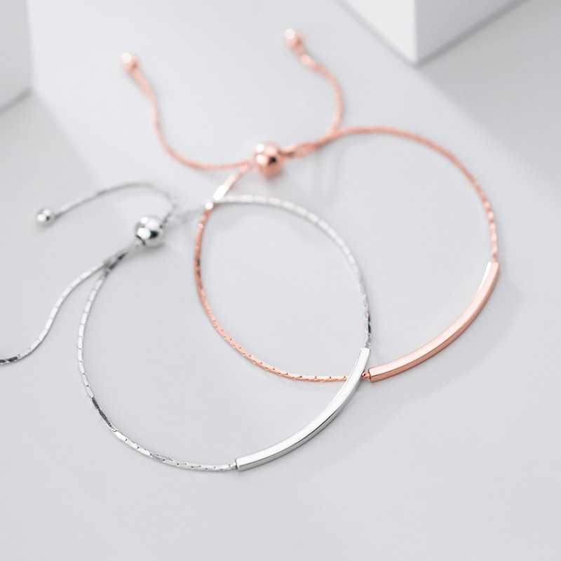 S925 Sterling <font><b>Silver</b></font> Color Korean Fashion Geometric Curved <font><b>Tube</b></font> <font><b>Bracelet</b></font> OL Style Jewelry For Women Lady Daughter Gift image