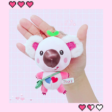 13cm Mini Koala Pendant Plush Toy Cute  Stuffed Animal Doll with Backpack Sling Bag Decor Pink Gray Key Ring