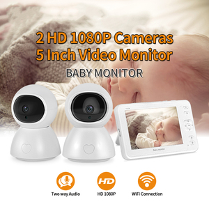 INQMEGA Night Vision Baby Monitor 5 inch Video 1 Screen 2/3 Surveillance Camera 1080P Security Camera Babysitter Camera