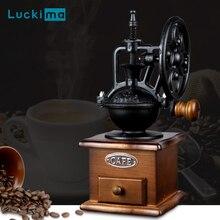 Классическая винтажная деревянная кофемолка, колесо обозрения, стильная керамическая коническая кофейная мельница, антикварное украшение для дома, кафе, магазина