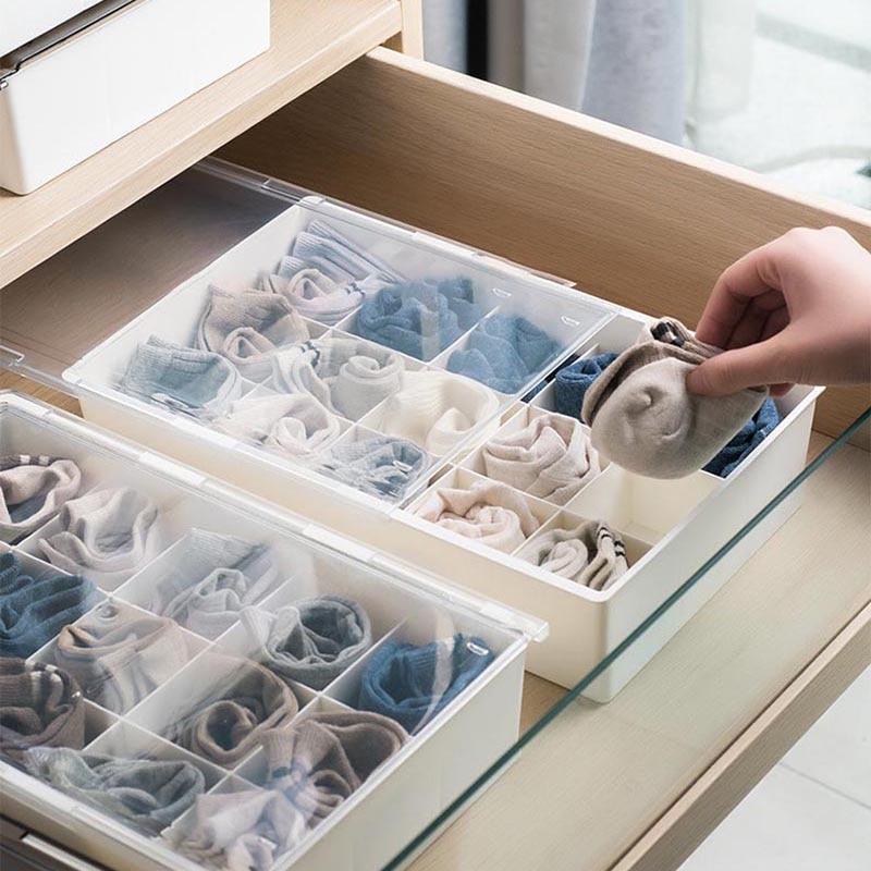 Underwear Storage Box Home Drawer Organizer Wall Mount Plastic Bras Socks Drawer Box Stickers Room Wardrobe Dividers Organizers