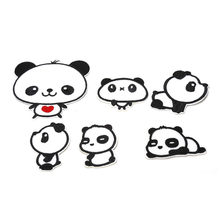 6PCS/Lot Cartoon Animal Panda Iron On Patches For Clothes Sew On Embroidered Patch Motif Applique Deal With It Clothing On Sale(China)