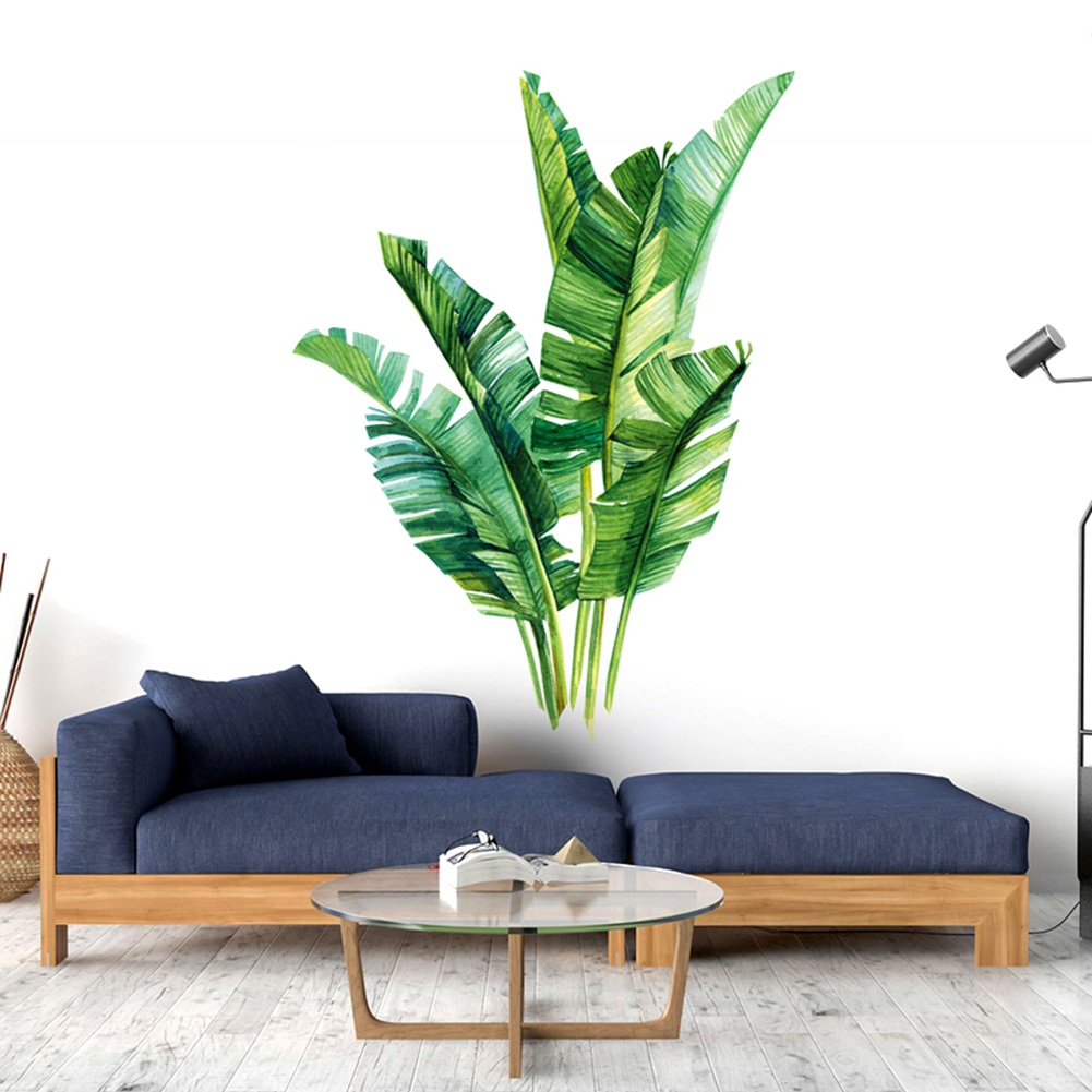 3D Fresh Green Grass Baseboard PVC Wall Stickers Skirting Kids Living Room Bathroom Kitchen Decoration Wall Mural Palm Leaves