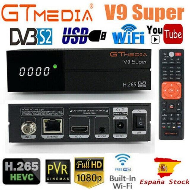 Receptor satélite super hd 1080p do receptor gtmedia v9 com 1 ano europa 7 linhas construído em wifi h.265 DVB S2 caixa europa tv
