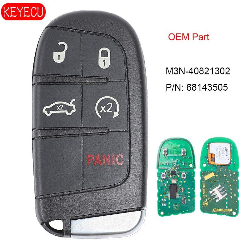 KEYECU OEM пульт дистанционного управления Fob 5 Кнопка смарт близость ключ без ключа для Jeep Grand Cherokee 2014 2017 FCCID: M3N 40821302 P/N: 68143505
