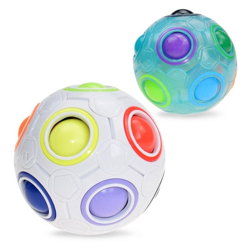 Creative Spheric Magic Rainbow Ball Plastic Magic Balls Puzzle Children Educational Learning Luminous Cube Toys For Children