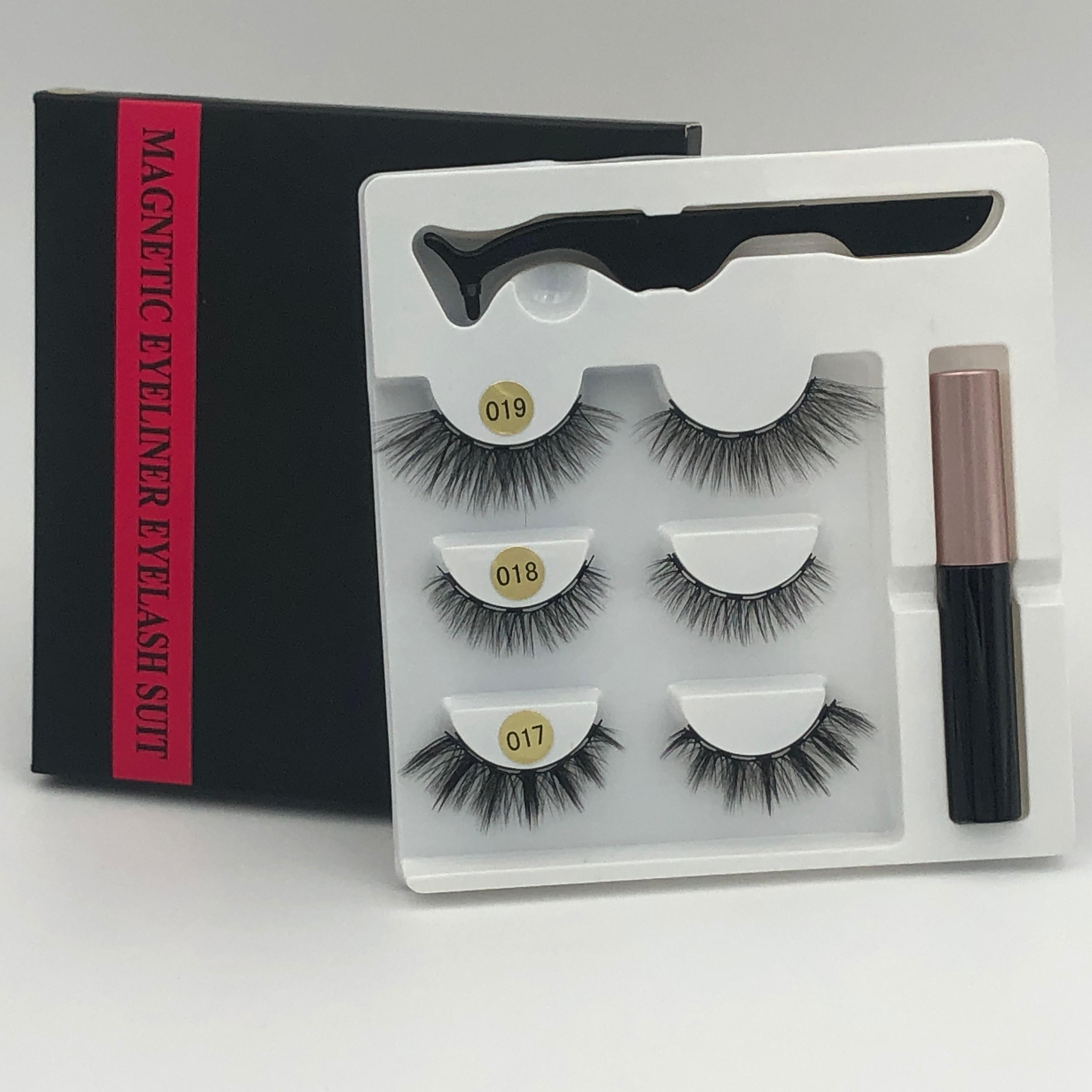 Makeup 3 Pairs Of Magnetic Eyelashes Magnetic Eyeliner Tweezers, Waterproof Long Lasting Natural Eyelashes Set Gift Box Eyelash