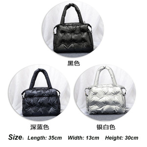 Image 5 - 2019 Winter Bags Space Pad Cotton Feather Down Single Shoulder Bags Padding Retro Solid Tote Casual Women Bucket Messenger Bag