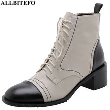 ALLBITEFO real genuine leather concise women boots Round toe fashion cool girls ankle boots Frenulum mixed colors leather boots