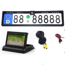 Câmera de monitor de carro 4.3tft para carro, monitor de carro + câmera traseira, à prova d água, quadro com placa de licença europeia, protetor de visão noturna
