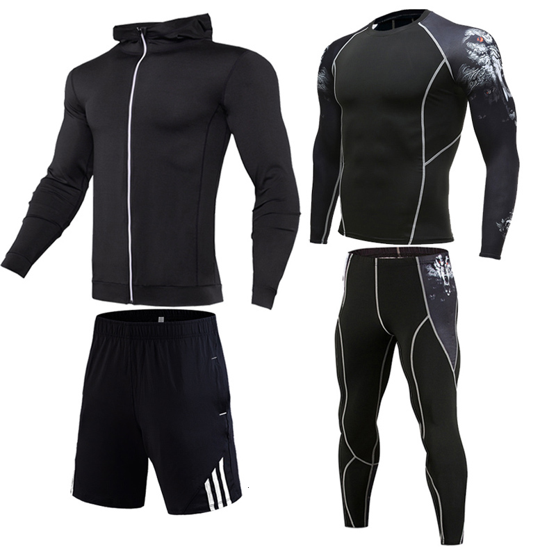 New Men's Compression Sportswear 2019 Running Sports Suit Basketball Tights Clothes Gym Fitness Training Set Jogging Tracksuits