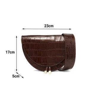 Image 3 - Femmes sac à bandoulière mode Crocodile demi cercle sacs de selle en cuir PU sacs à bandoulière pour femme sacs à main concepteur bolsas