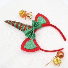 Oaoleer Hair Accessories 2Pcs/lot Christmas Party Hairband for Girls Glitter Unicorn Gold Antlers Ears Festival Headband