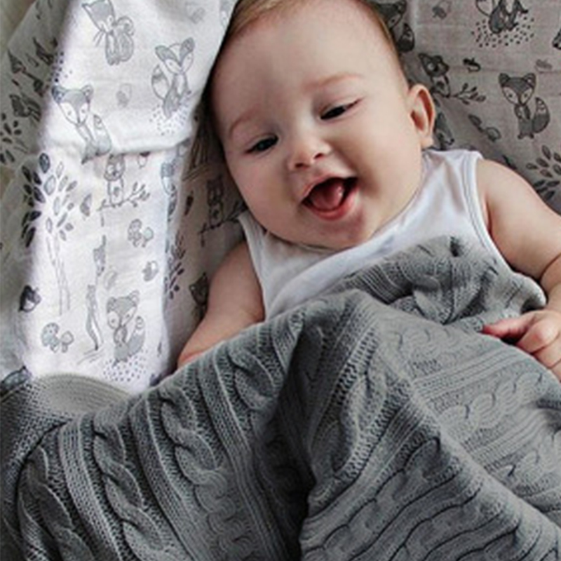 Let'S Make Acrylic Baby Blanket 1pc Winter New Born Kids Products Grey Handmade Baby Items Bedding Blanket