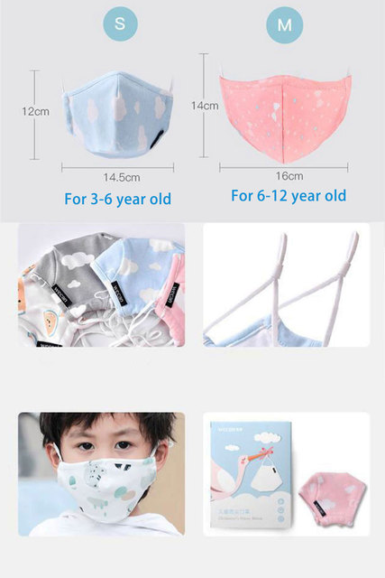 Cotton Children Face Mask for 3-12 Years 4-Layer Reusable Mouth Face Mask Boy Girl Lovely Cute Kids Mask Adjustable Mouth Muffle 5