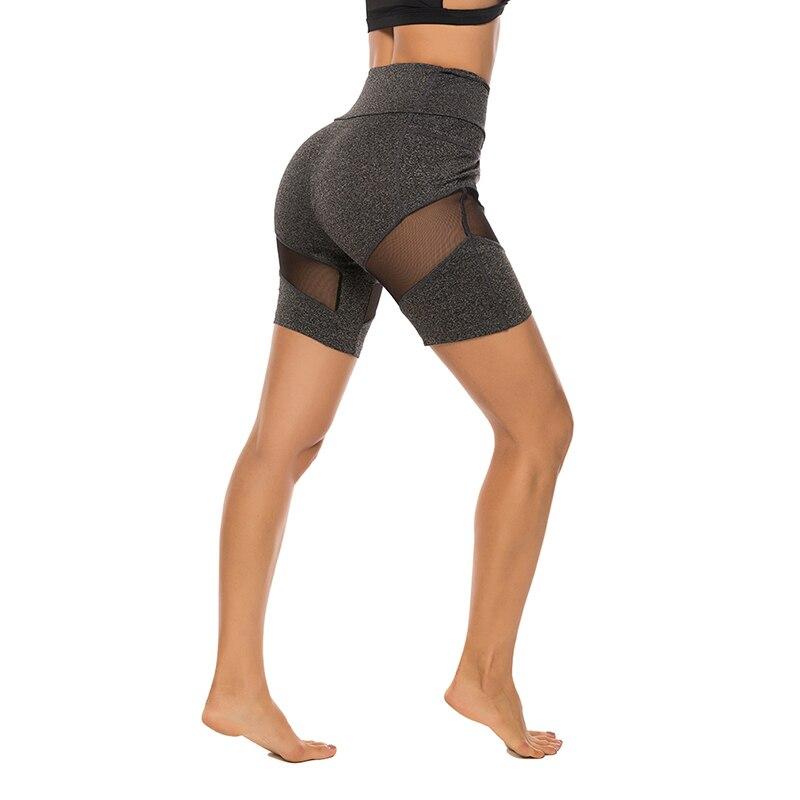 Women Sport Shorts Mesh Patchwork Design See Through Shorts Fashion High Waist Elastic Hip Shorts Ladies Fitness Casual Shorts