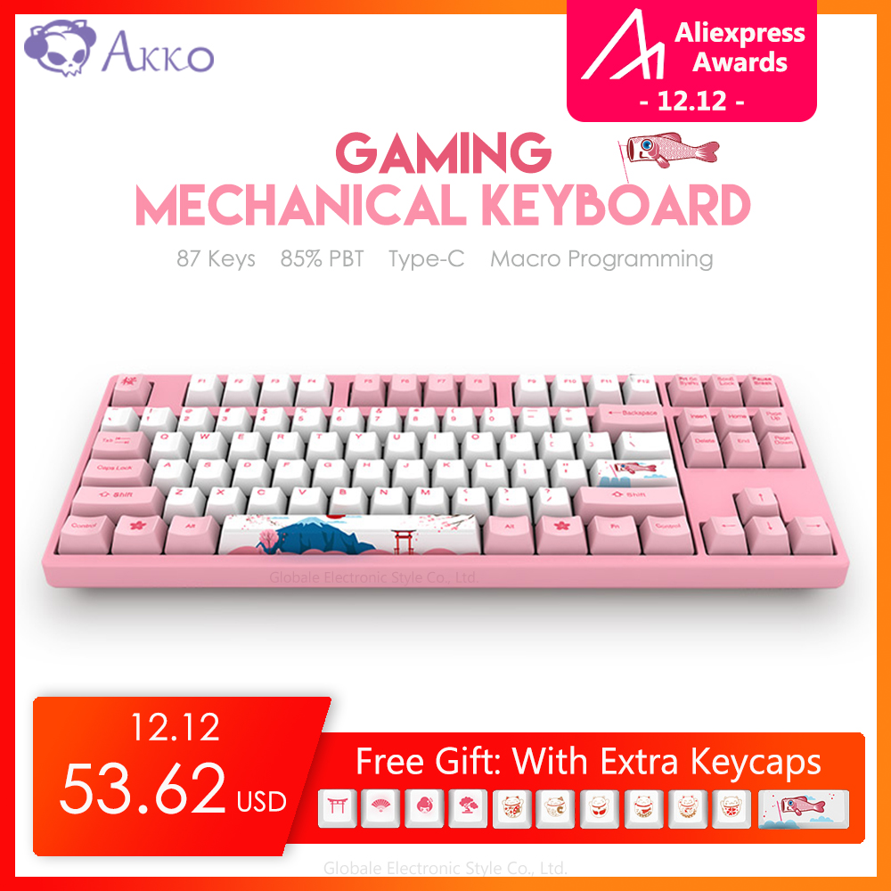 Original AKKO 3087 87 Keys Gaming Keyboard Mechanical 85% PBT Type - C USB Wired Computer Gamer Macro Programmable Tokya Sakura