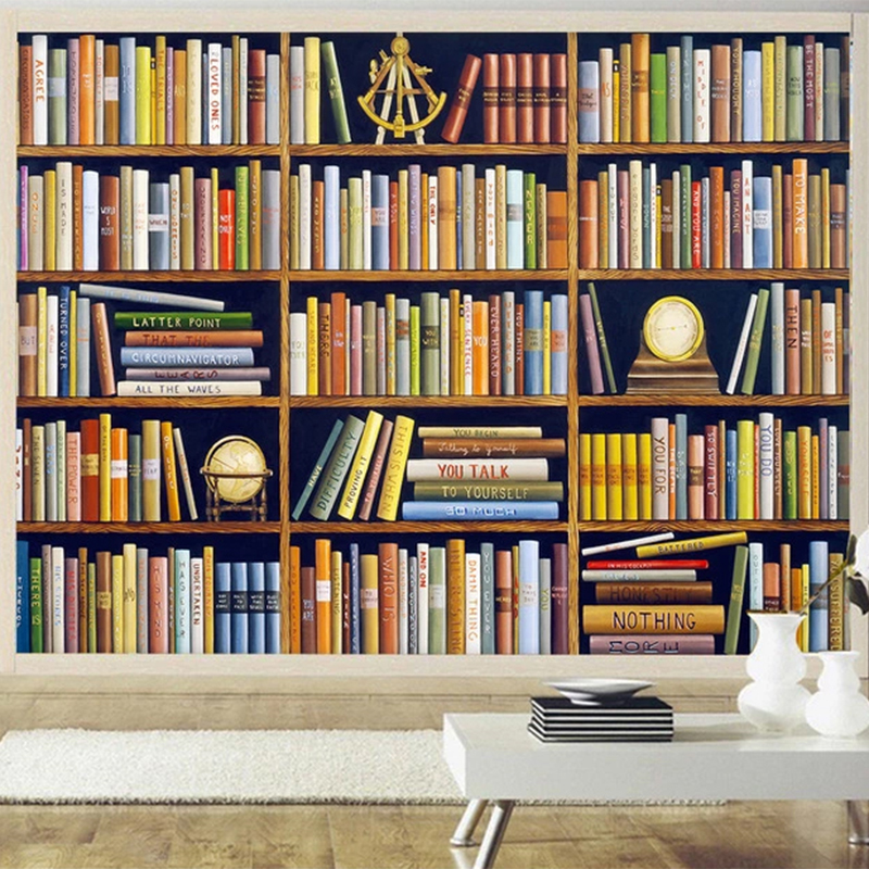 Custom Any Size Mural Wallpaper 3D Retro Bookshelf Living Room Study Background Wall Decor Papel De Parede Classic Wall Papers
