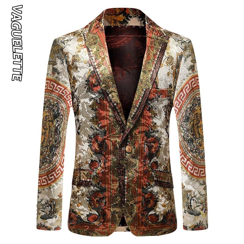 Vaguelette Luxury Printed Blazer Men Slim Fit Winter Jacket Party Wedding Jacket Coat Stage Clothers Big Size M-4XL 1