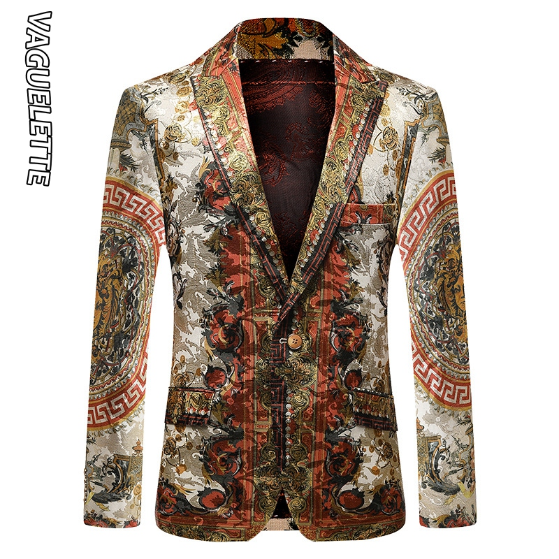 Vaguelette Luxury Printed Blazer Men Slim Fit Winter Jacket Party Wedding Jacket Coat Stage Clothers Big Size M-4XL